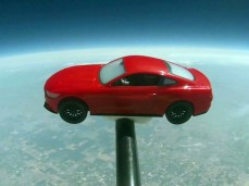 The Mustang took about 74 minutes to reach a height of nearly 21 miles and then descended back down to earth.